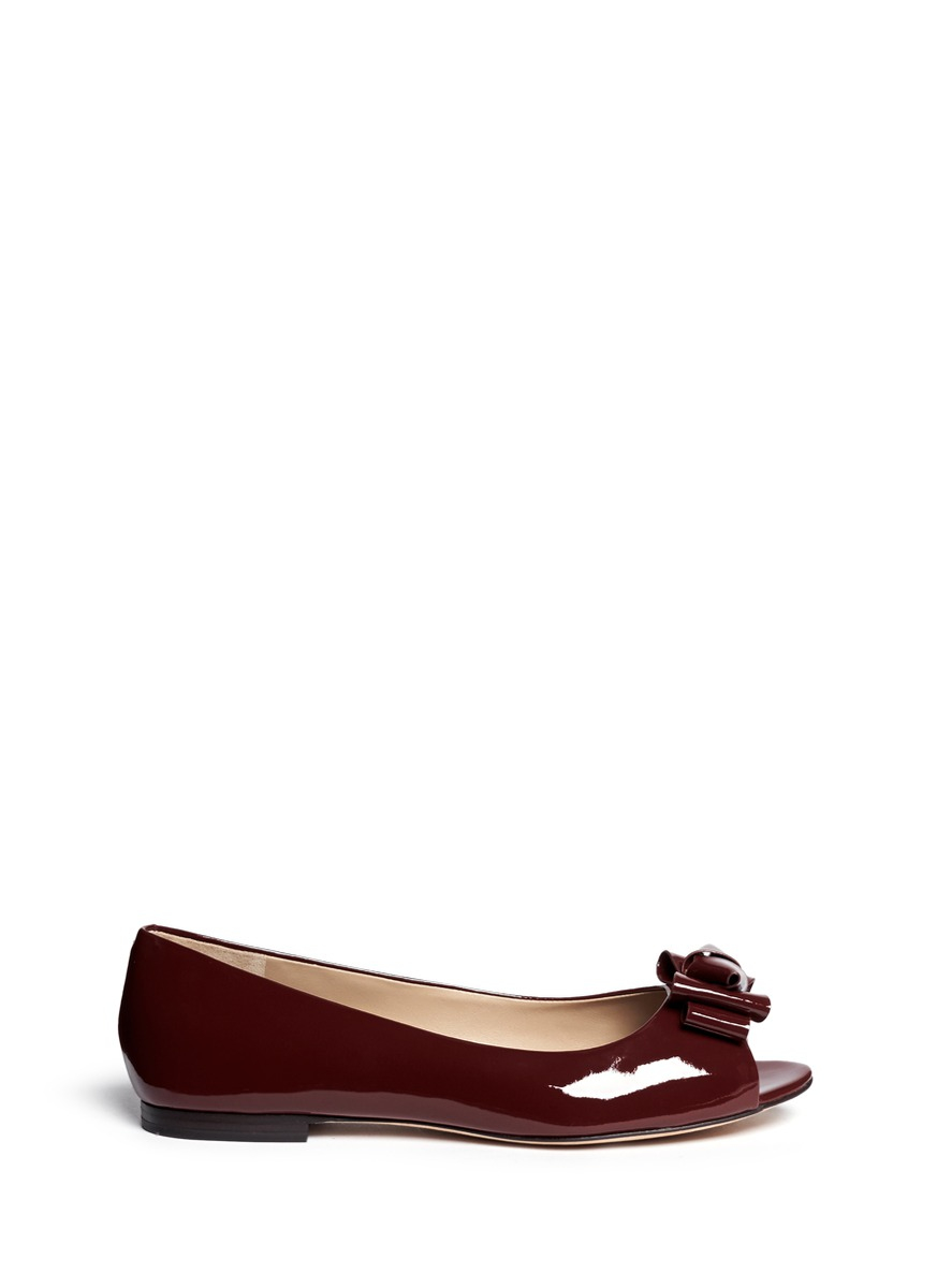 b7d1a84b328bbe ... france tory burch bow patent leather peep toe flats in red lyst 528c5  07371