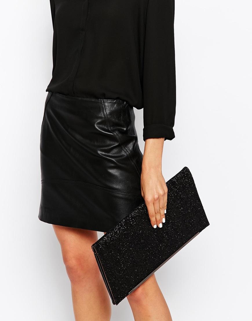 5c6255c219d Nali Oversized Glitter Clutch Bag in Black - Lyst