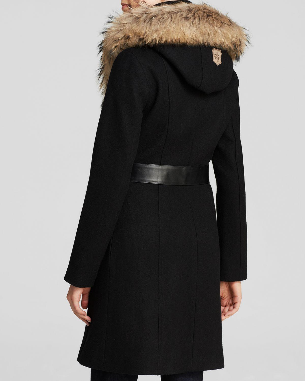 Mackage Belted Wool Coat With Fur Trim Hood - Bloomingdale's ...