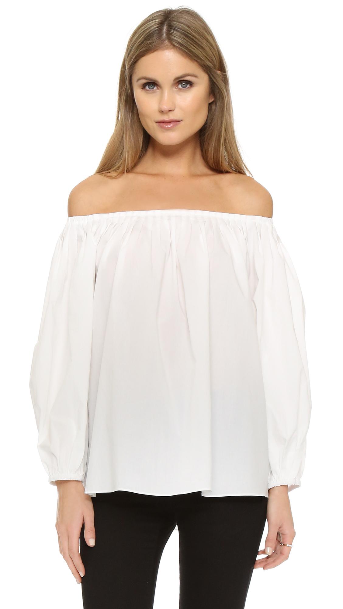 off shoulder top hvid