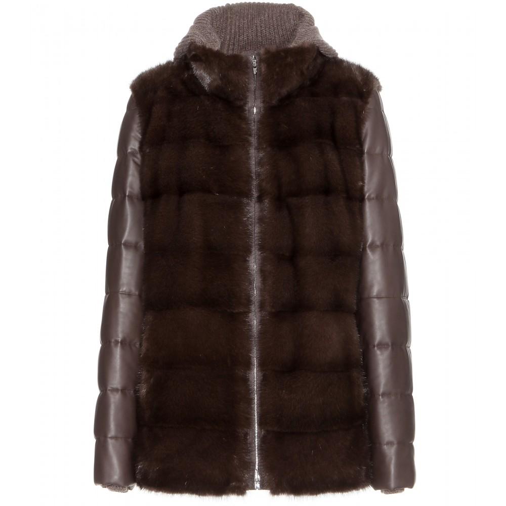 Loro piana Joyce Mink-Fur and Leather Jacket in Gray | Lyst