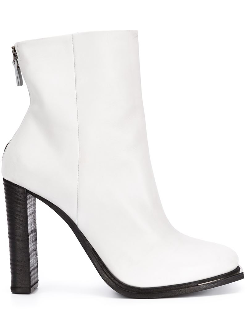 vic mati 233 high heel leather ankle boots in white lyst