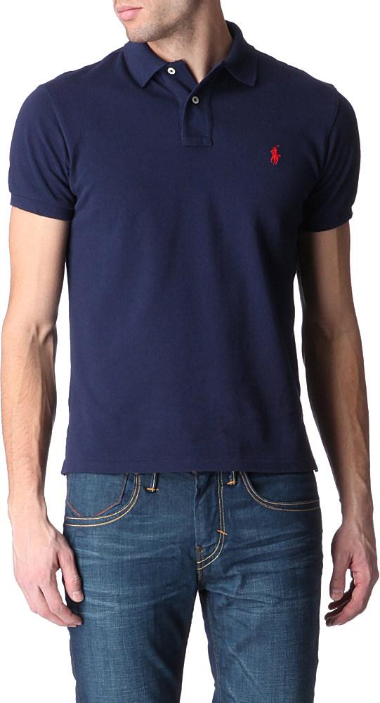 Polo Ralph Lauren Custom–fit Mesh Polo Shirt in Blue for Men - Lyst 673b8addf