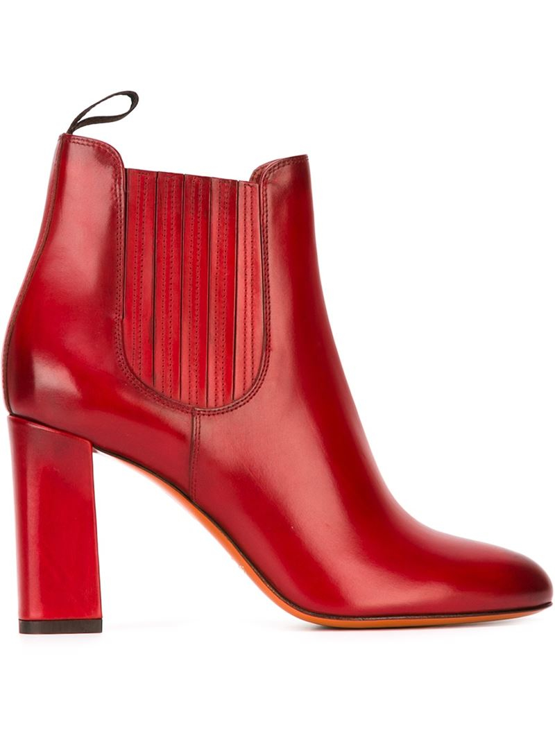Santoni Ankle Boots in Red | Lyst