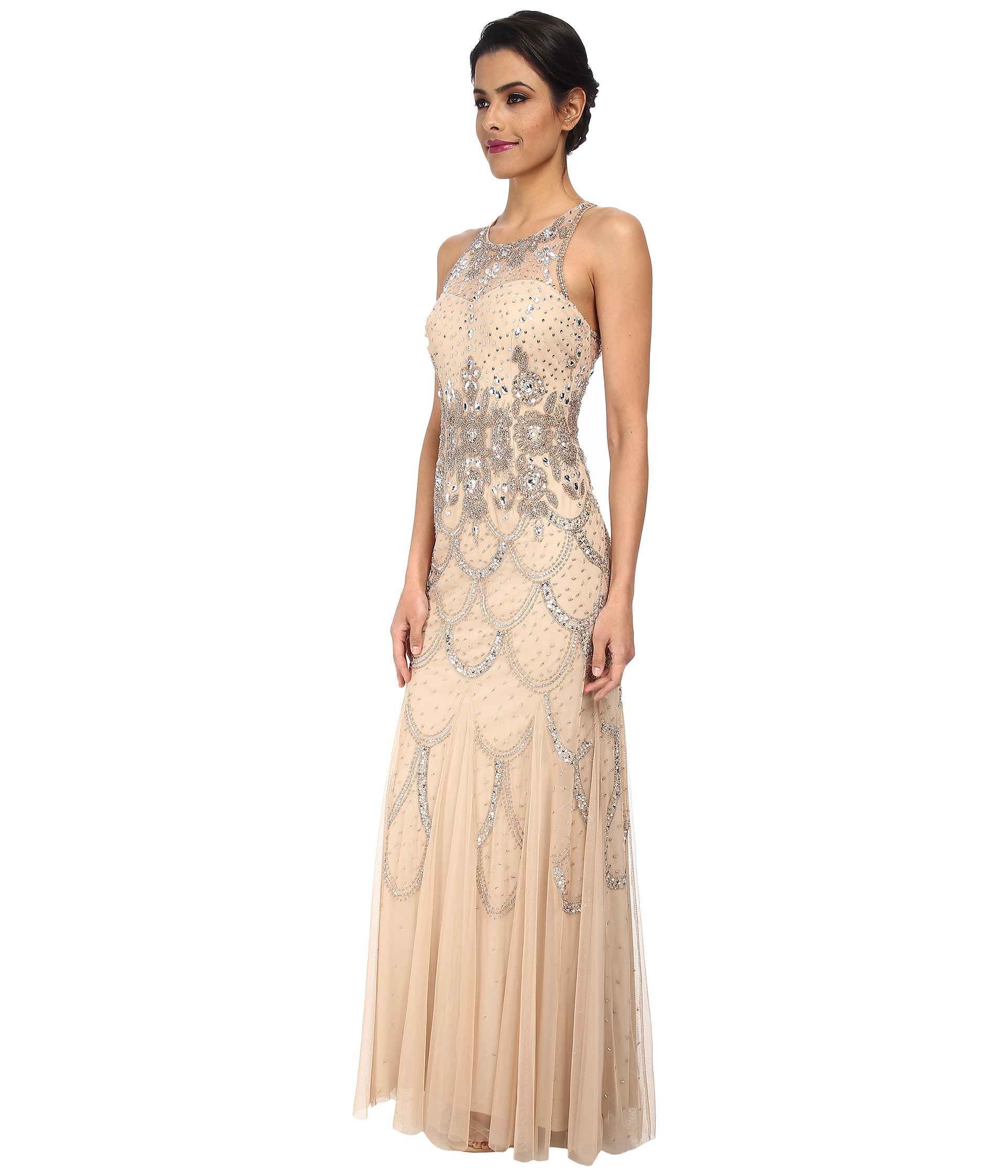 Lyst - Adrianna Papell Halter Fully Beaded Gown in Natural