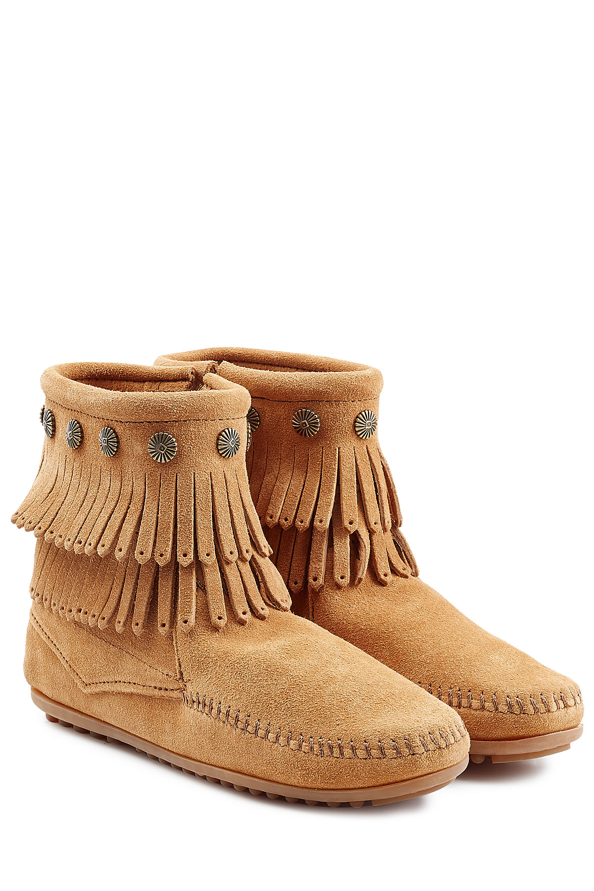 minnetonka concho fringed suede ankle boots with studs in