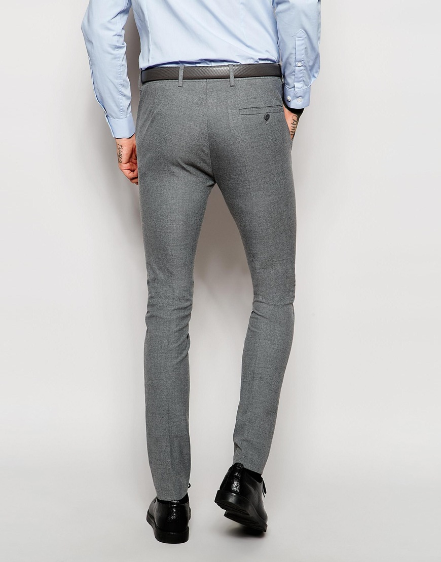 Asos Wedding Super Skinny Suit Trousers In Grey in Gray for Men | Lyst