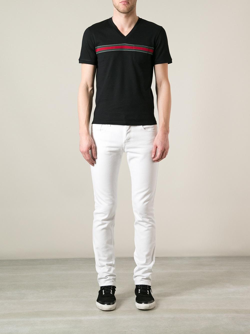 bda20eee Gucci Vneck Tshirt in Black for Men - Lyst