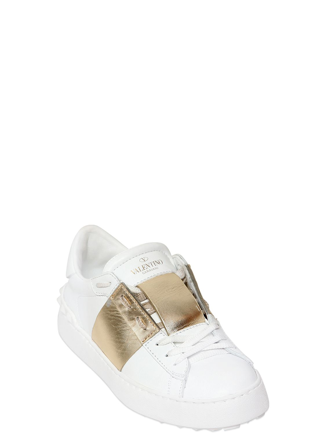 valentino open leather sneakers with metallic band in