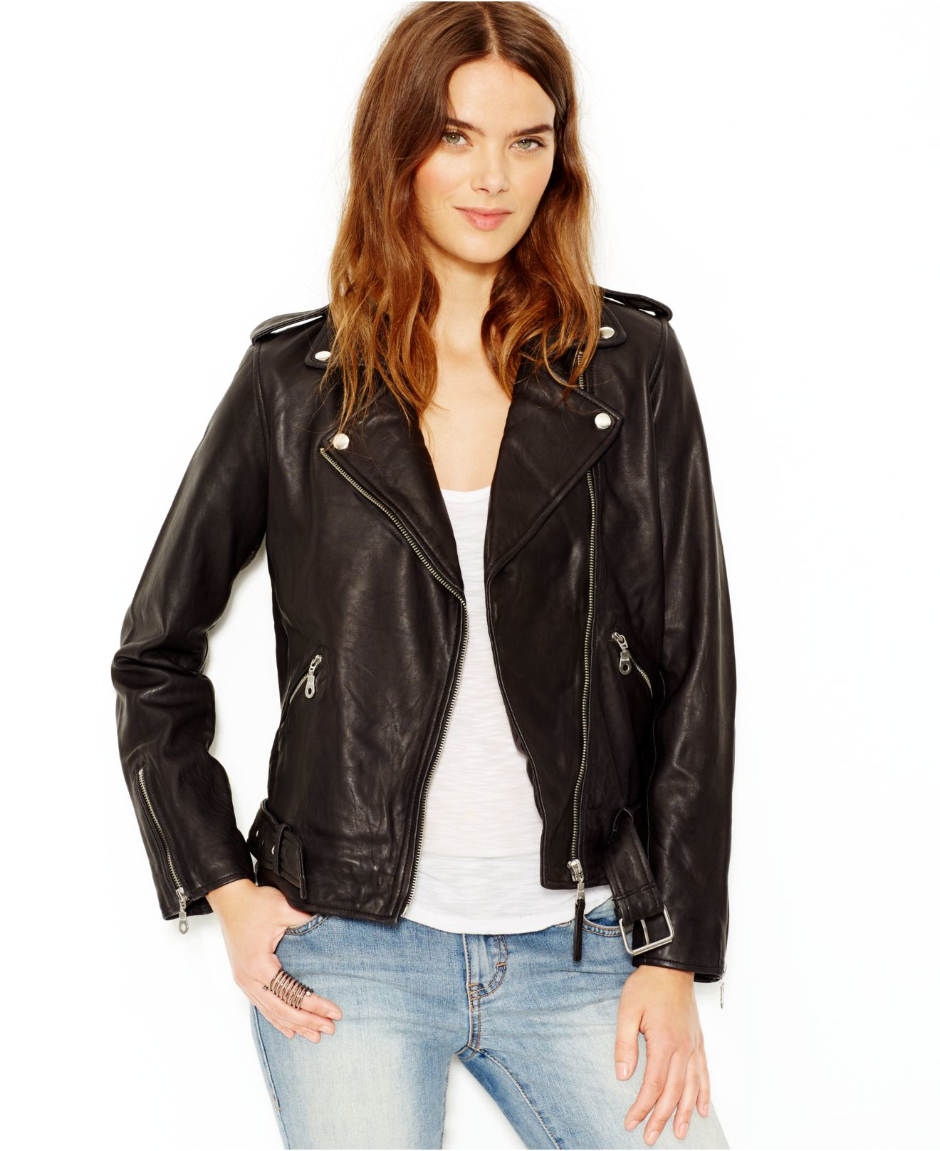 Lucky brand Lucky Brand Leather Moto Jacket in Black