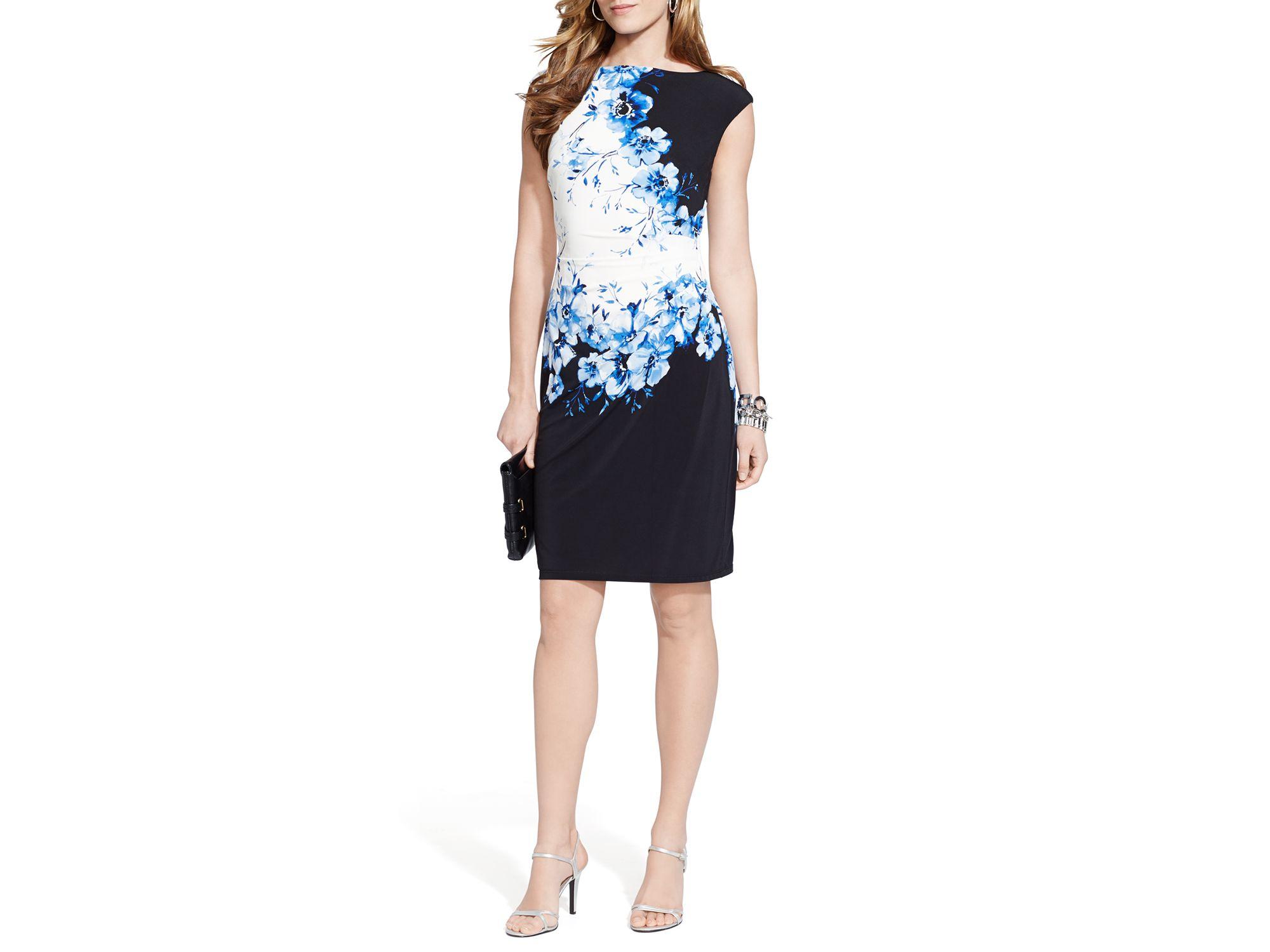 4df31b878712d2 Wear to Work LAUREN RALPH LAUREN Womens Petites Jersey Short Sleeve Wrap  Dress