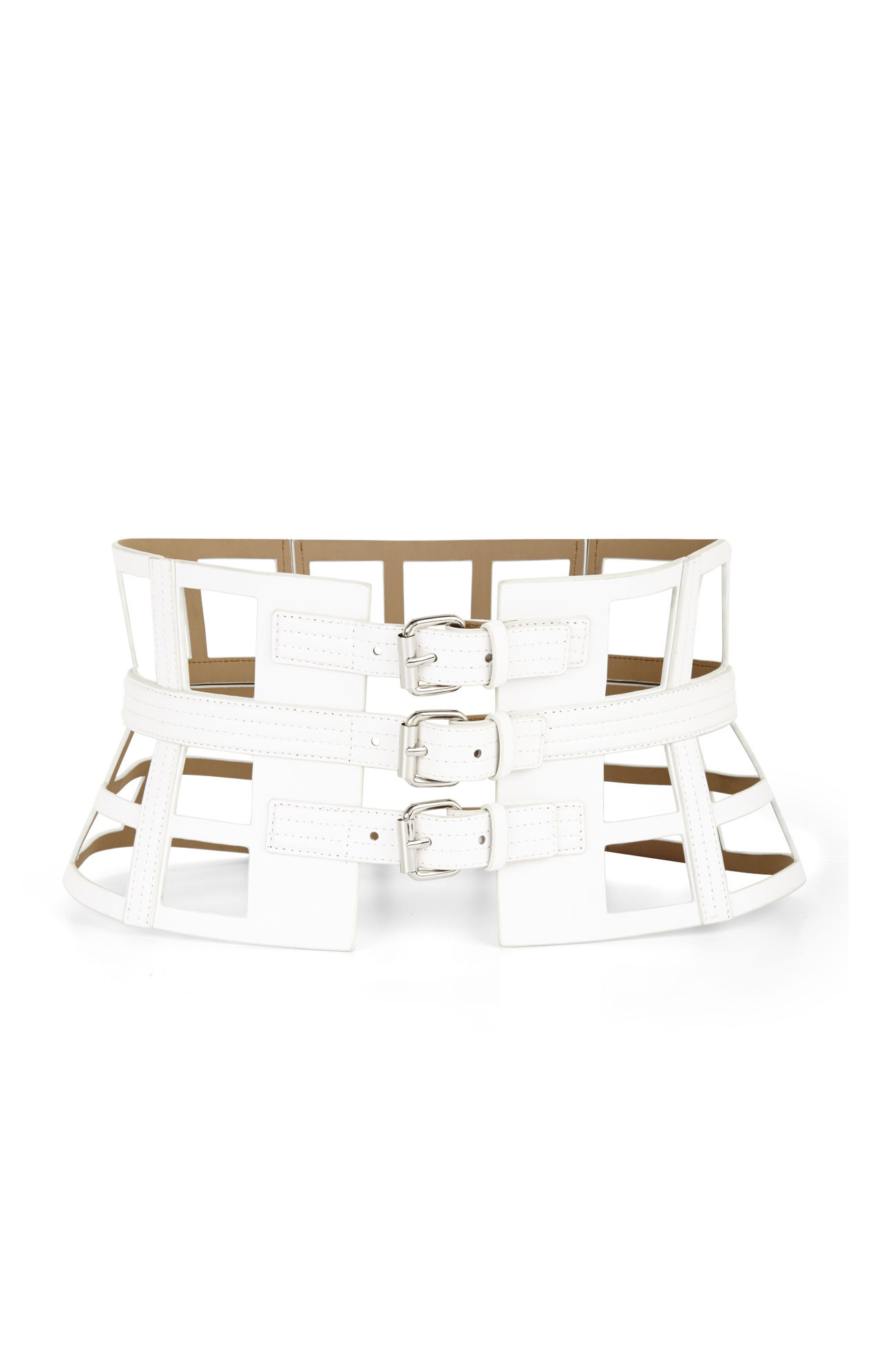caf8cc77b2 Lyst - BCBGMAXAZRIA Grid Cutout Corset Waist Belt in White