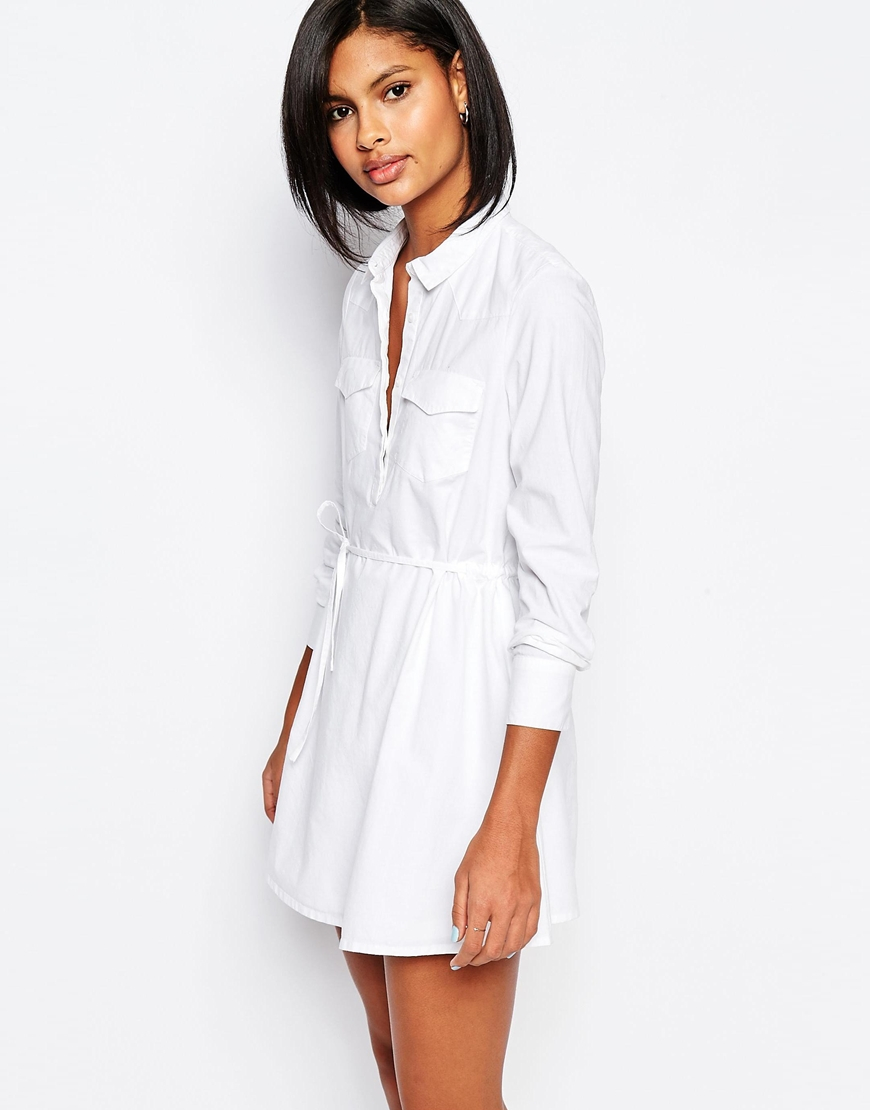 White Drawstring Waist Dress
