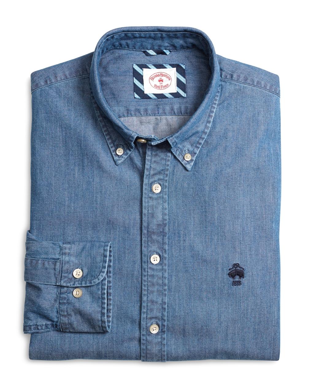 Lyst - Brooks brothers Denim Logo Sport Shirt in Blue for Men