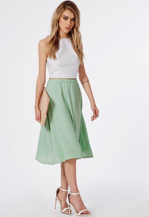 Missguided Mint Crepe Midi Skirt in Green | Lyst