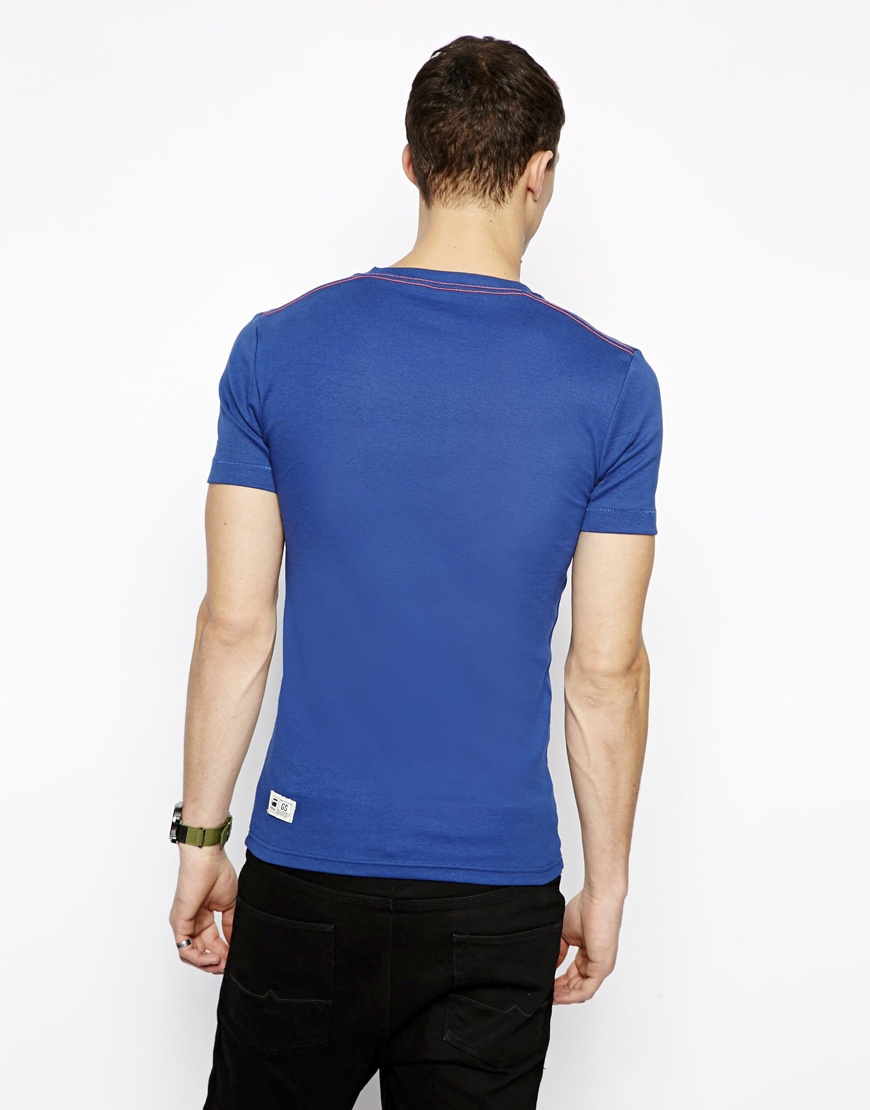 g star raw g star tshirt kain curved g s raw logo in blue for men lyst. Black Bedroom Furniture Sets. Home Design Ideas
