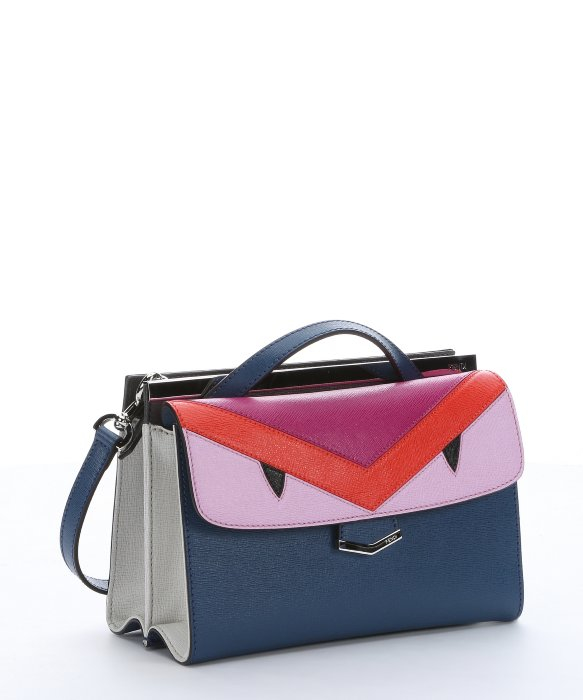 d369afb4731 Fendi Cobalt And Fuchsia Leather Monster  demi Jour  Split Shoulder Bag in  Blue - Lyst