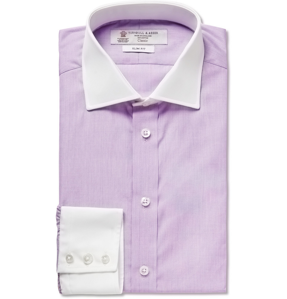 Lyst Turnbull Asser Lilac Contrast Collar And Cuff
