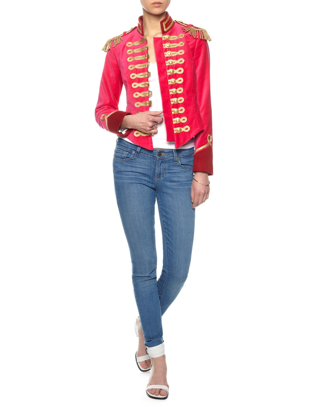 Pinky laing Pink Velvet Military Jacket in Pink | Lyst