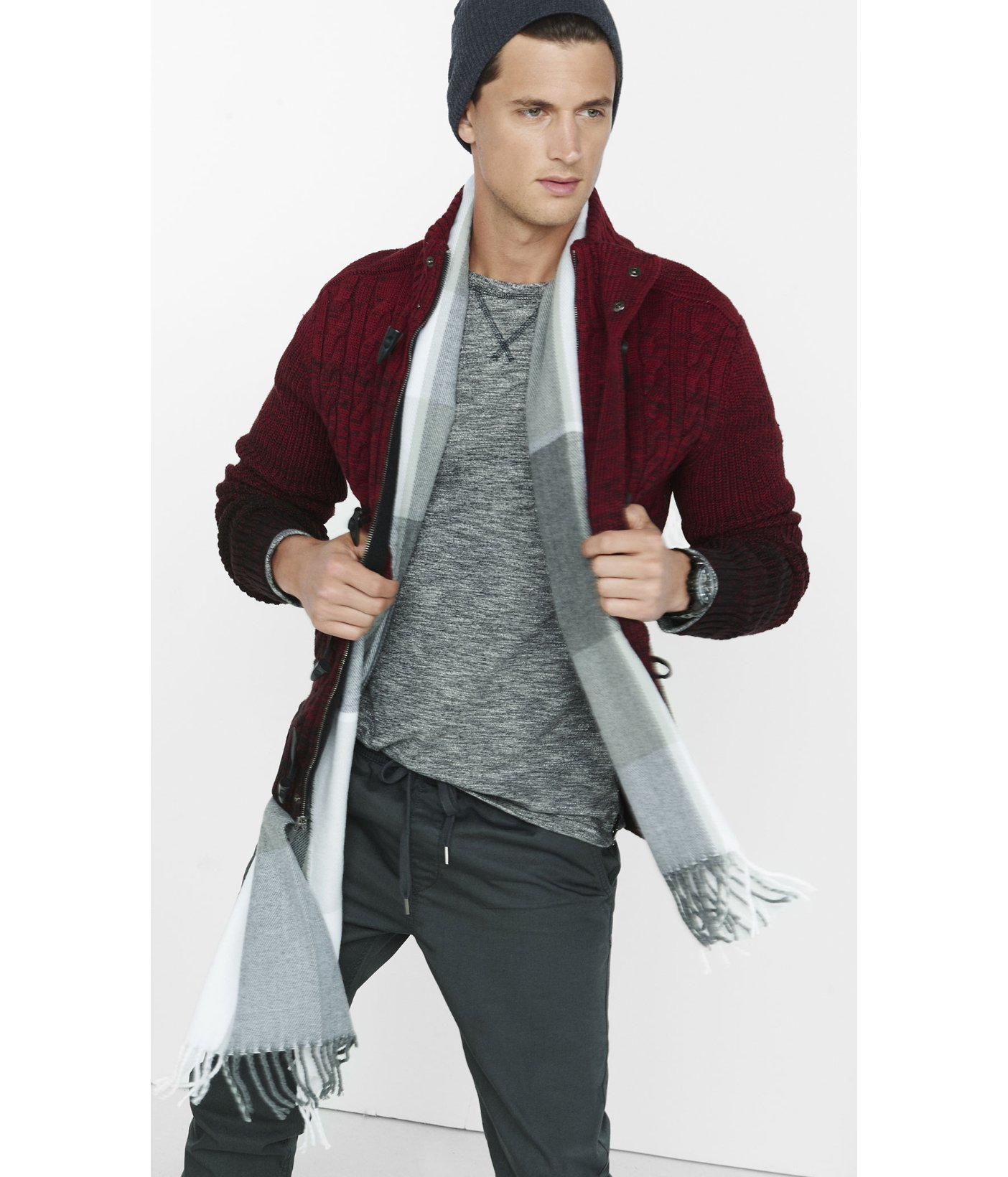 Express Shawl Collar Cable Knit Toggle Cardigan in Red for Men | Lyst