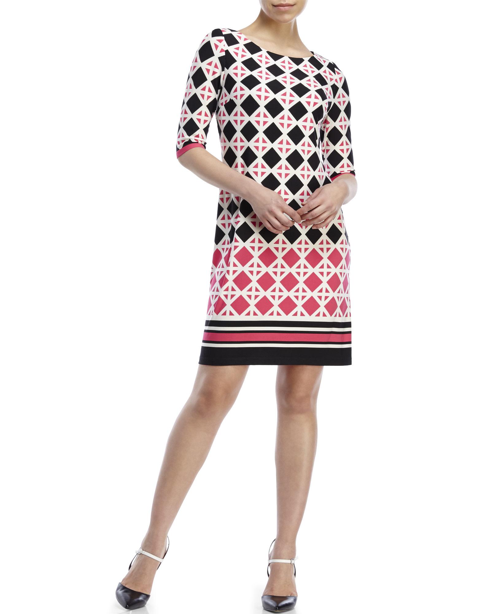 711195f01b1 Eliza J Diamond Print Jersey Shift Dress in Pink - Lyst