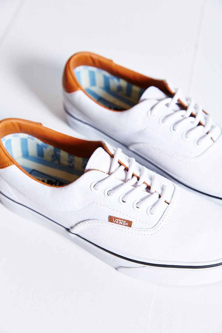 067aafebc92f6a Lyst - Vans Era 59 Washed Canvas + Leather Sneaker in White