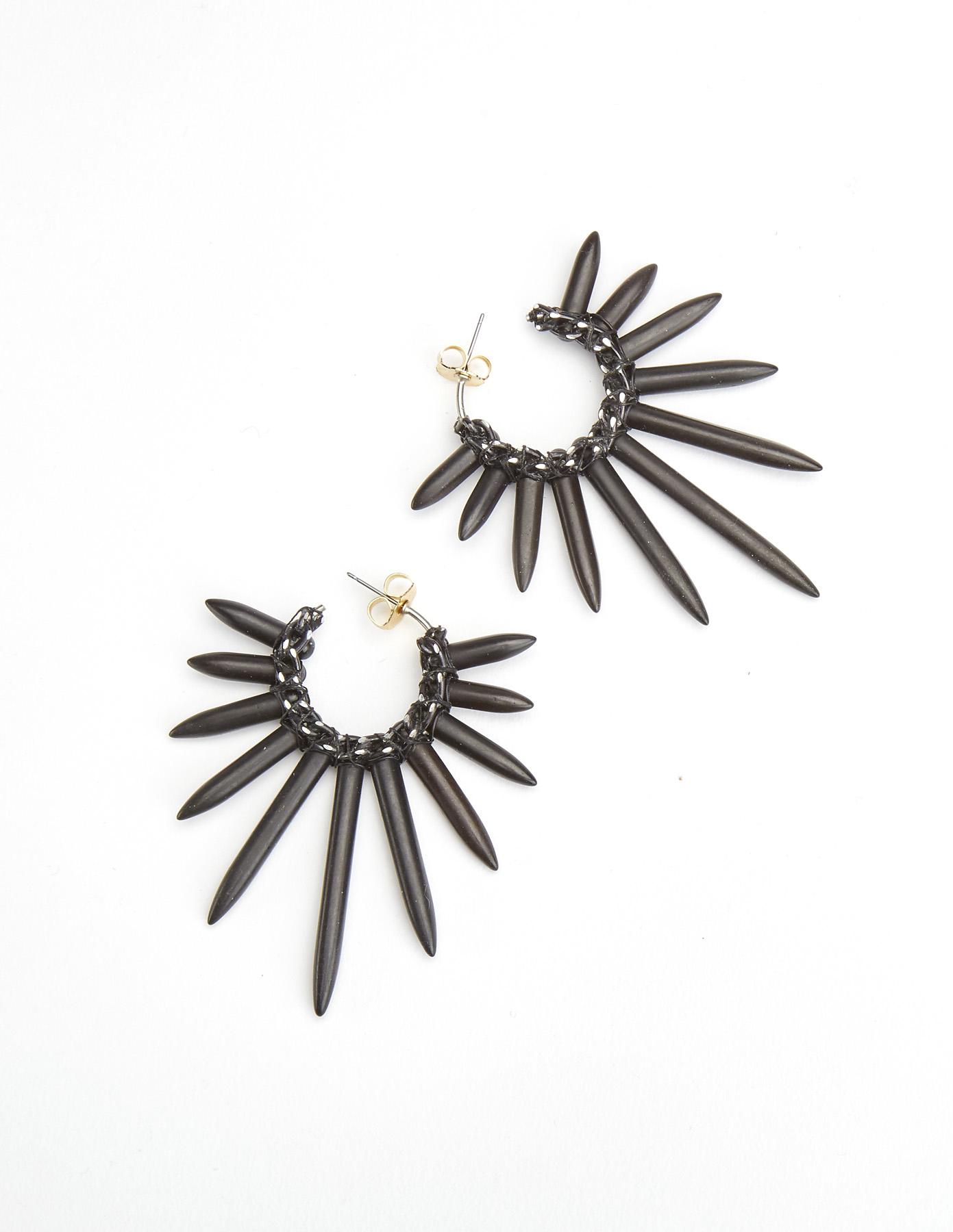 Lyst Nicole Miller Spiky Earrings In Gray
