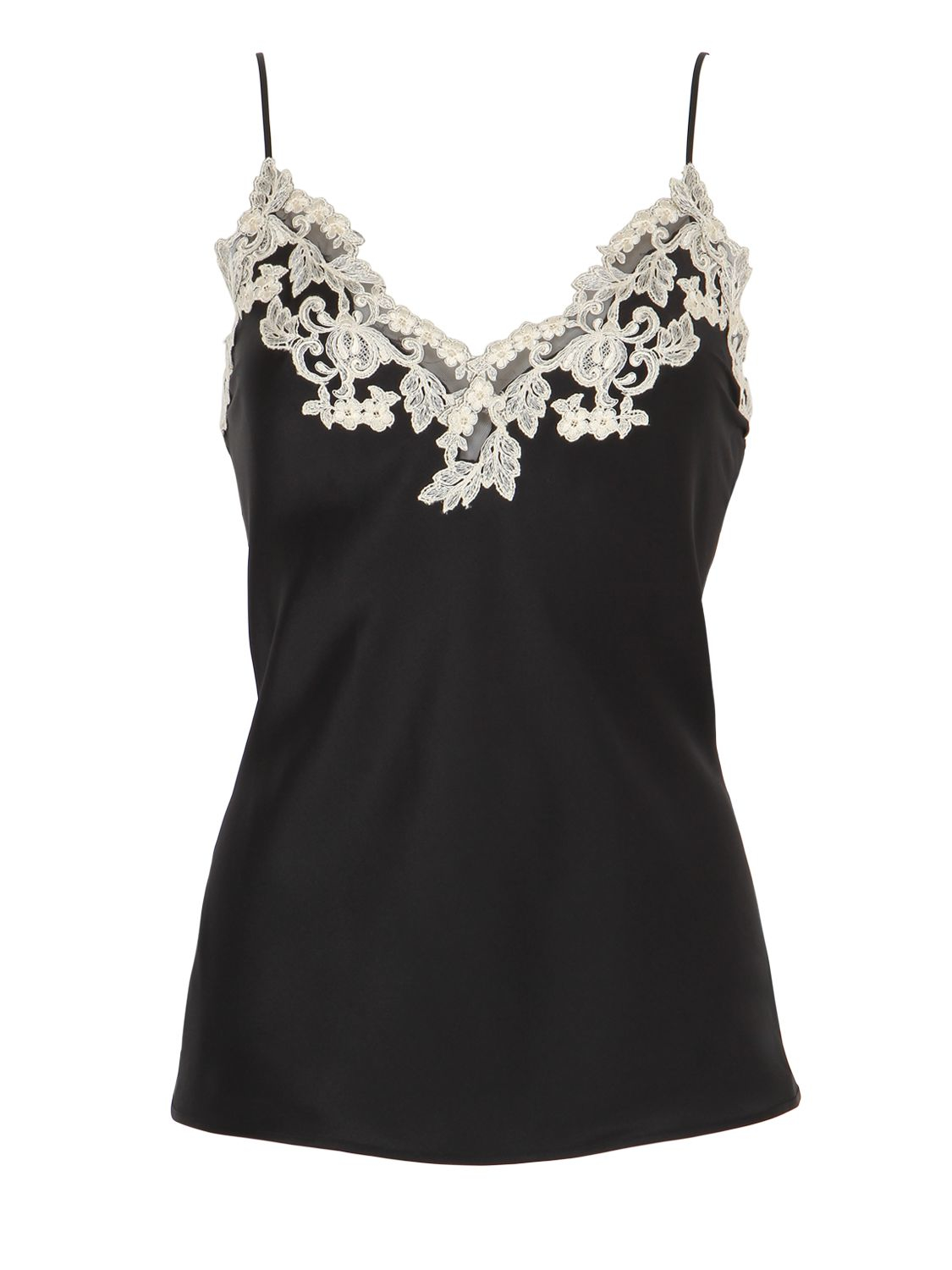 6d71b0769637b0 Lyst - La Perla Maison Silk   Lace Top in Black