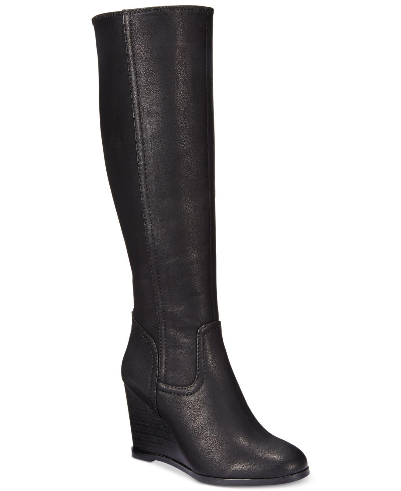 rage henrietta wedge dress boots in black lyst
