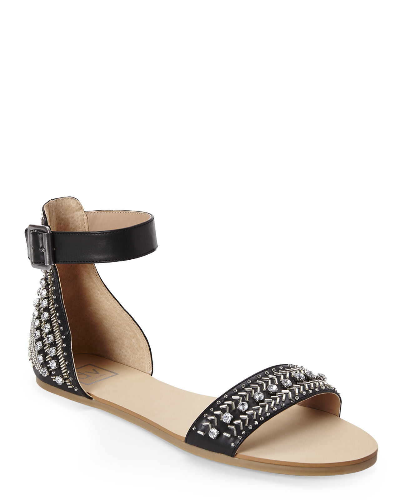 Black Jeweled Flat Shoes