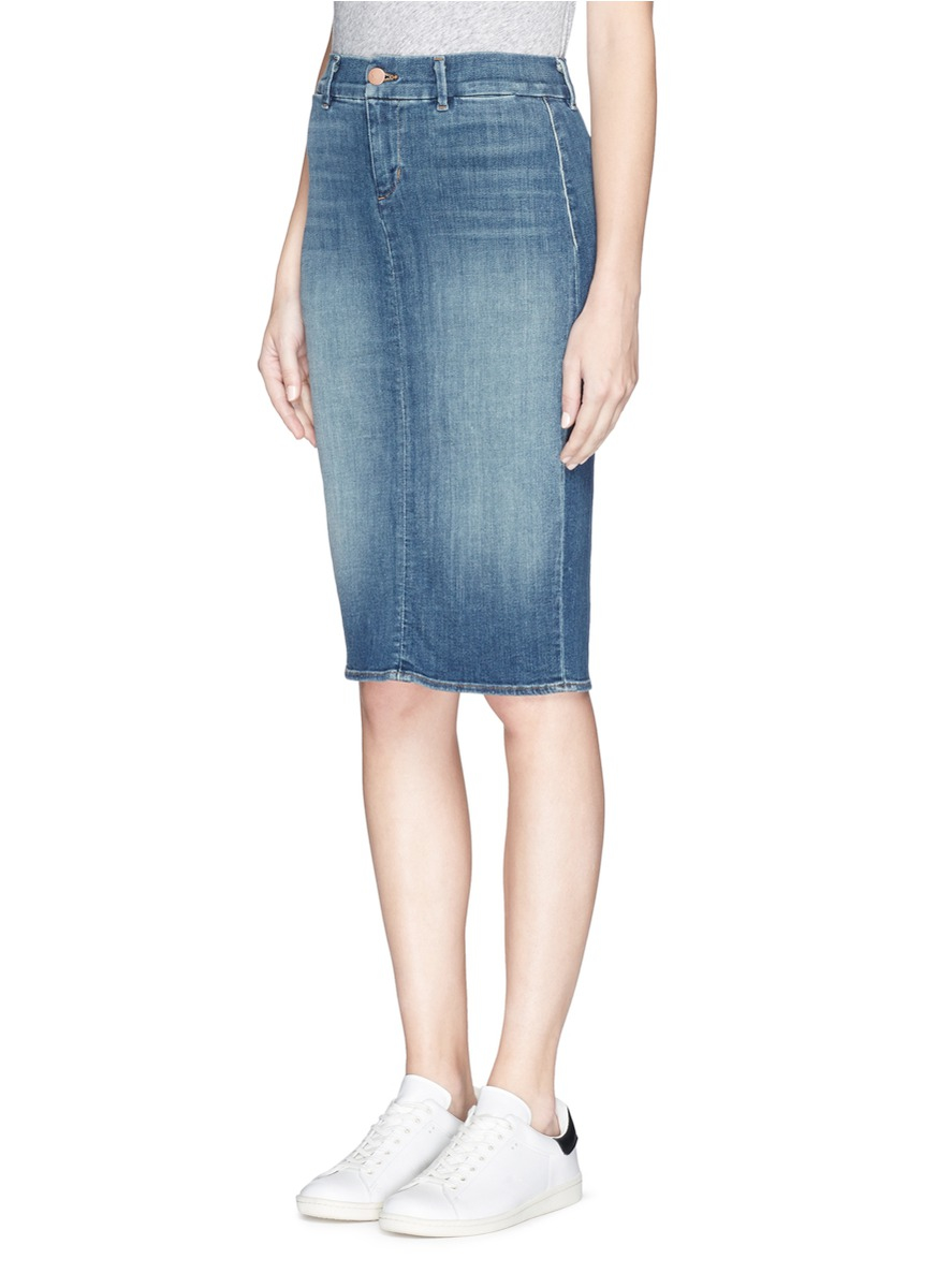 j brand willa denim pencil skirt in blue lyst