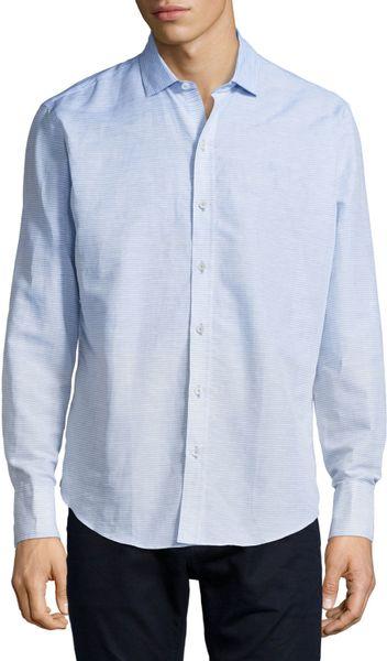 Zachary prell horizontal stripe woven long sleeve shirt in for Horizontal striped dress shirts men