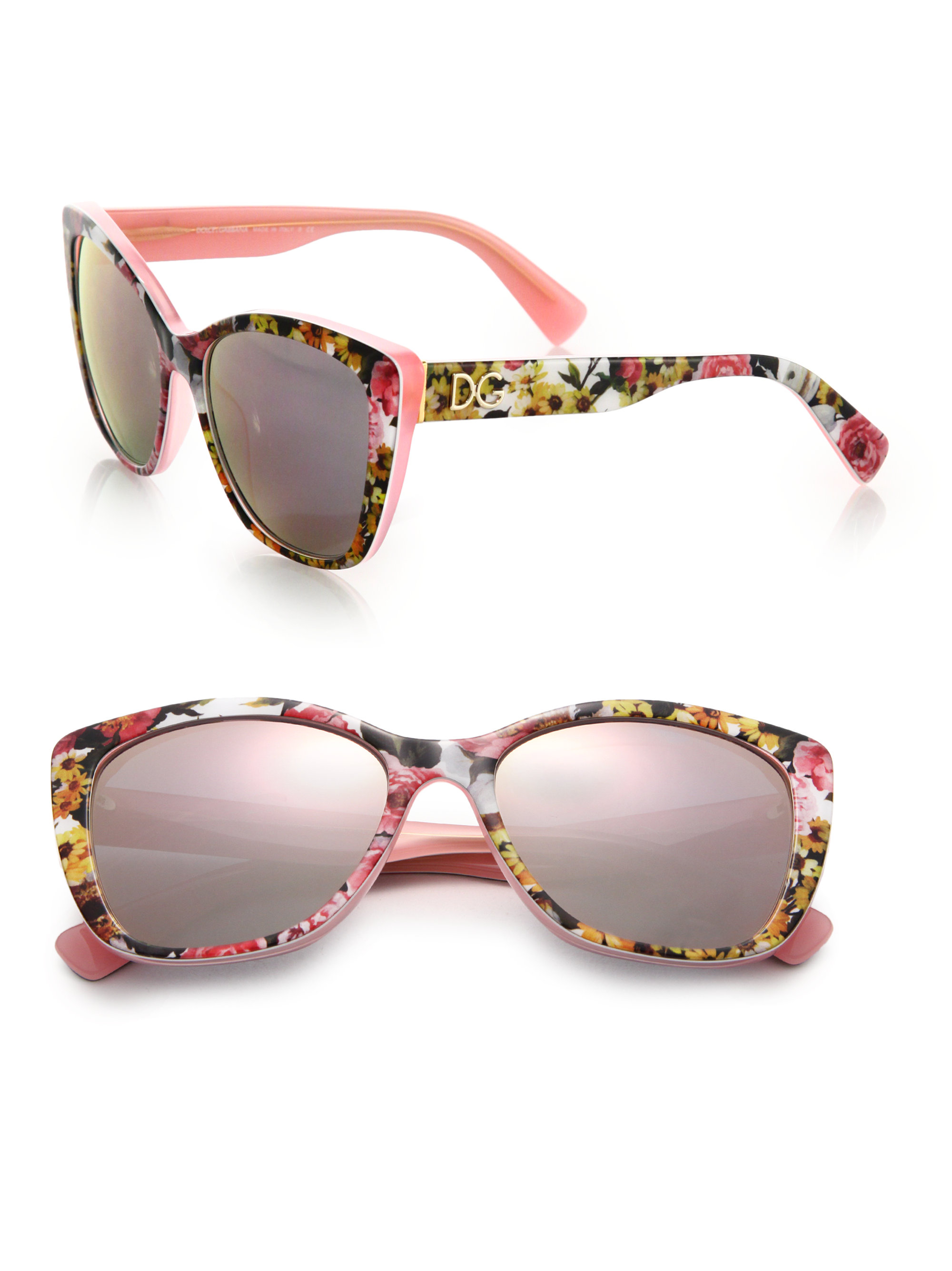 47115aa27247 In Sunglasses Butterfly Pink Gabbana Lyst amp  55mm Floral Dolce Hw10zqg