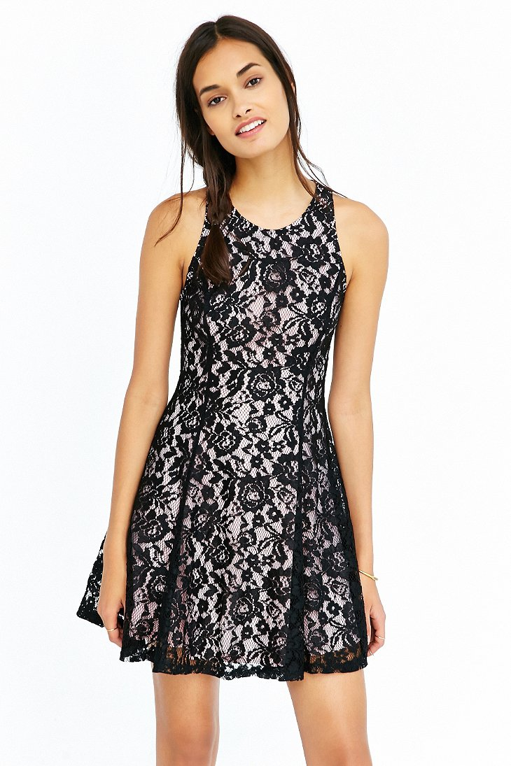 Lyst Kimchi Blue Lace Floral Lace Skater Dress In Black