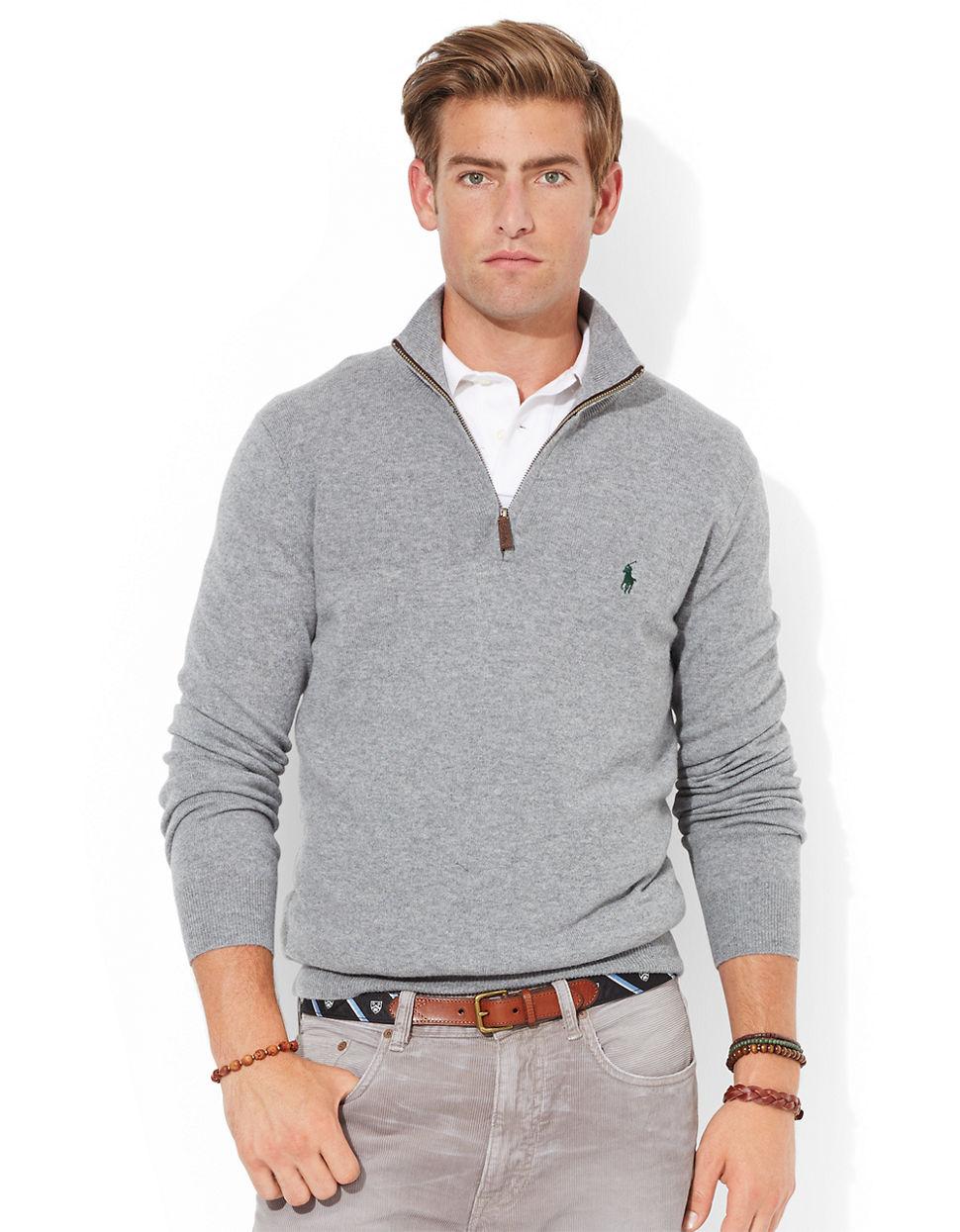 0d4615daa ... top quality lyst polo ralph lauren merino wool half zip sweater in gray for  men fb955