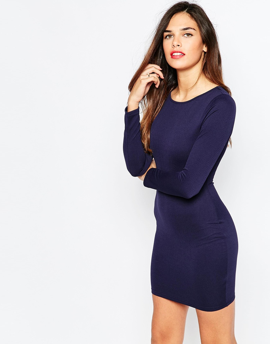 b710c1abd84c Lyst - AX Paris Long Sleeve Bodycon Dress - Navy in Blue