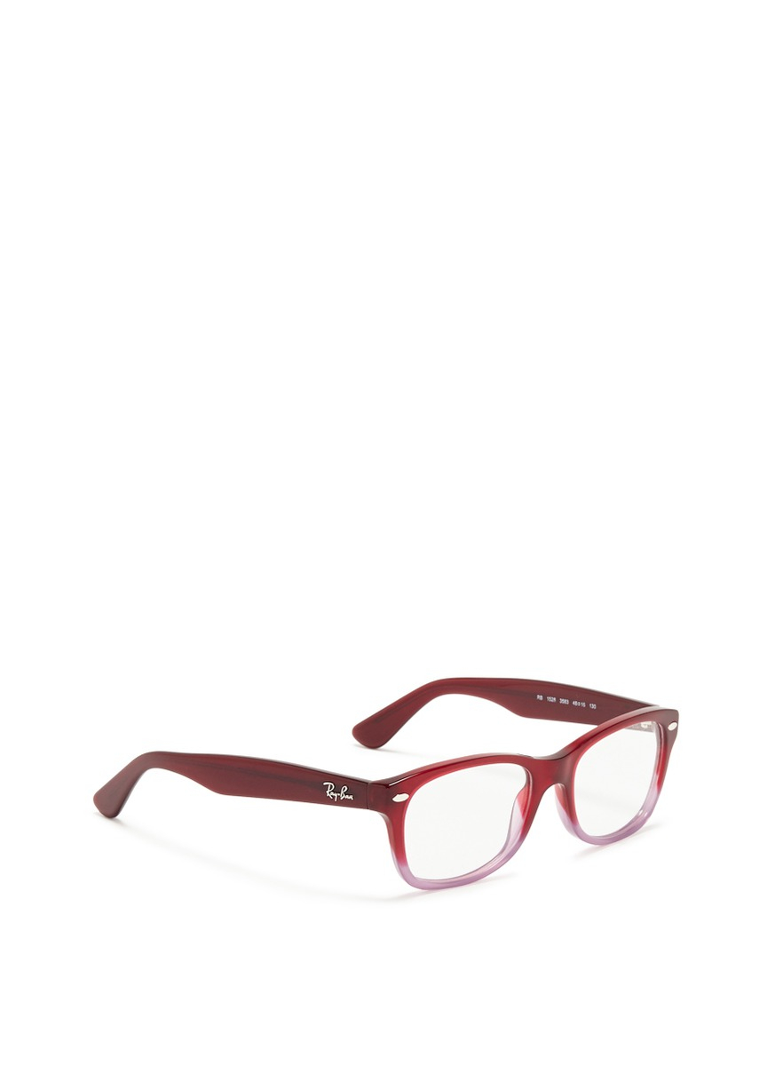06a0bd9207 ... coupon code lyst ray ban junior square frame ombré acetate optical glasses  in red 5d1ac 7c02a