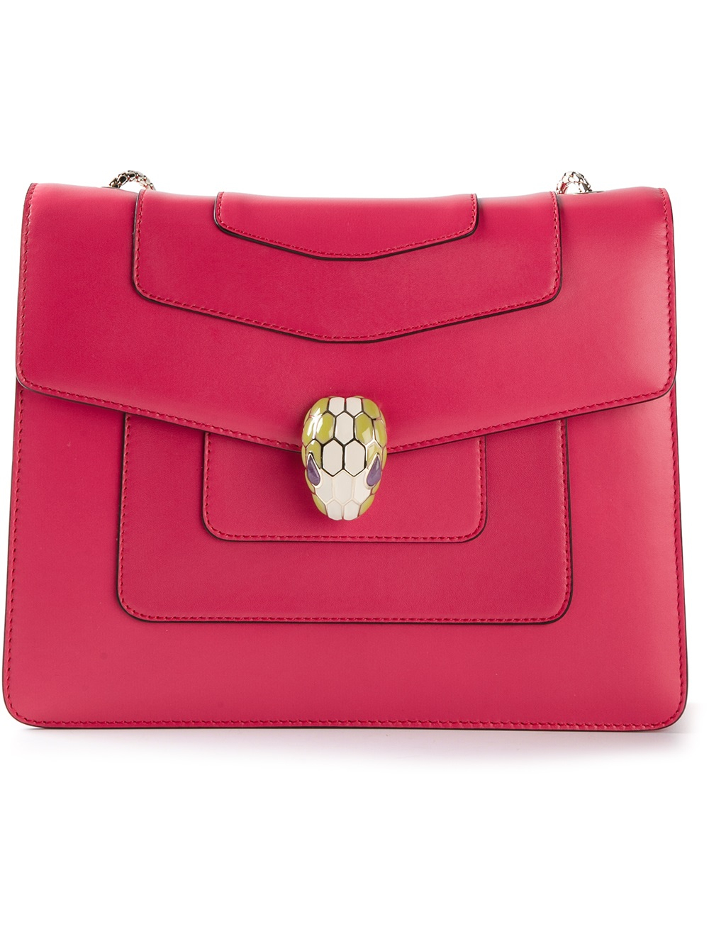Lyst Bvlgari Serpenti Forever Leather Shoulder Bag In Red