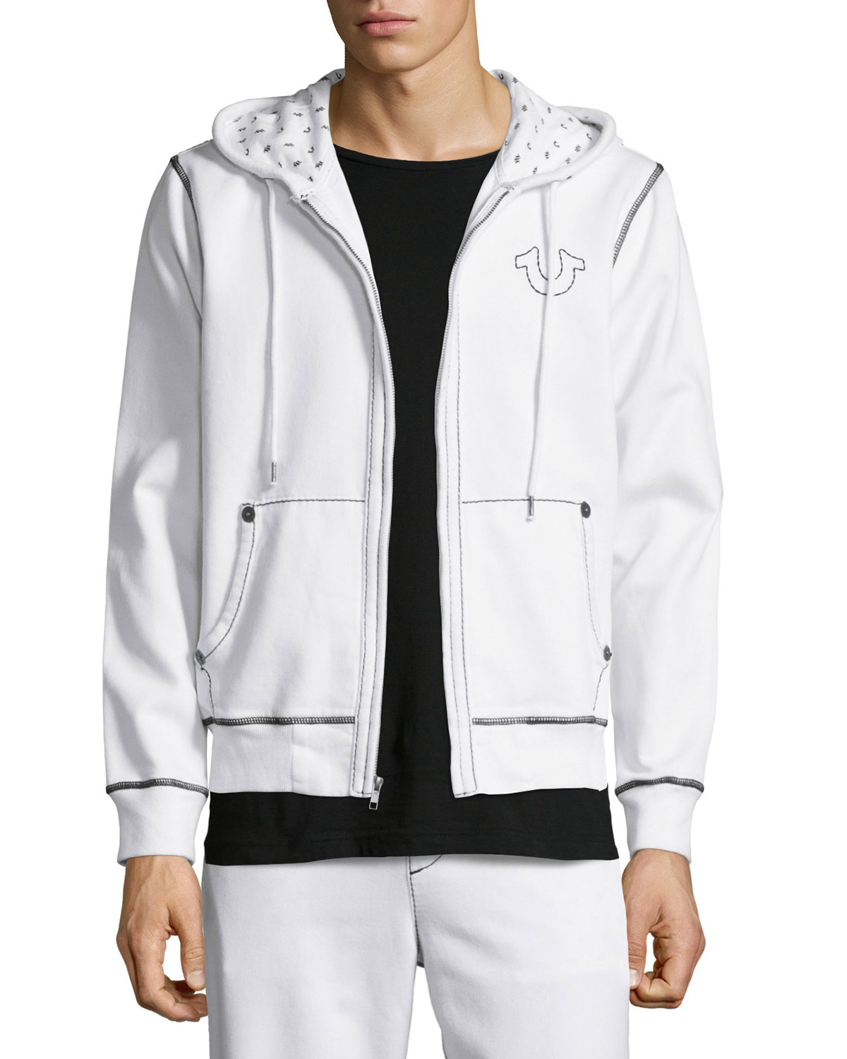 true religion contrast stitching knit hoodie in white for men lyst. Black Bedroom Furniture Sets. Home Design Ideas