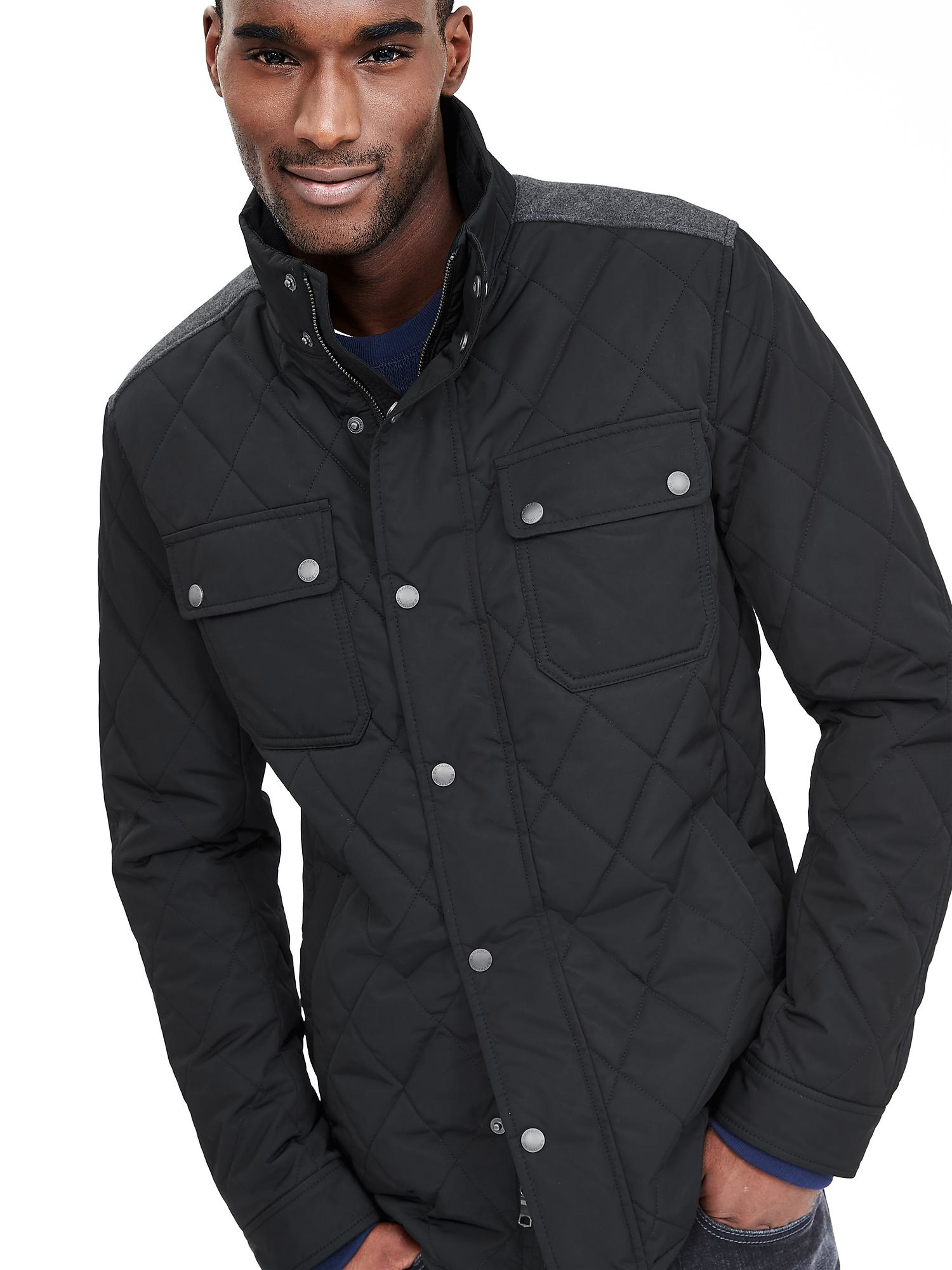 Banana Republic Quilted Four Pocket Jacket In Black For