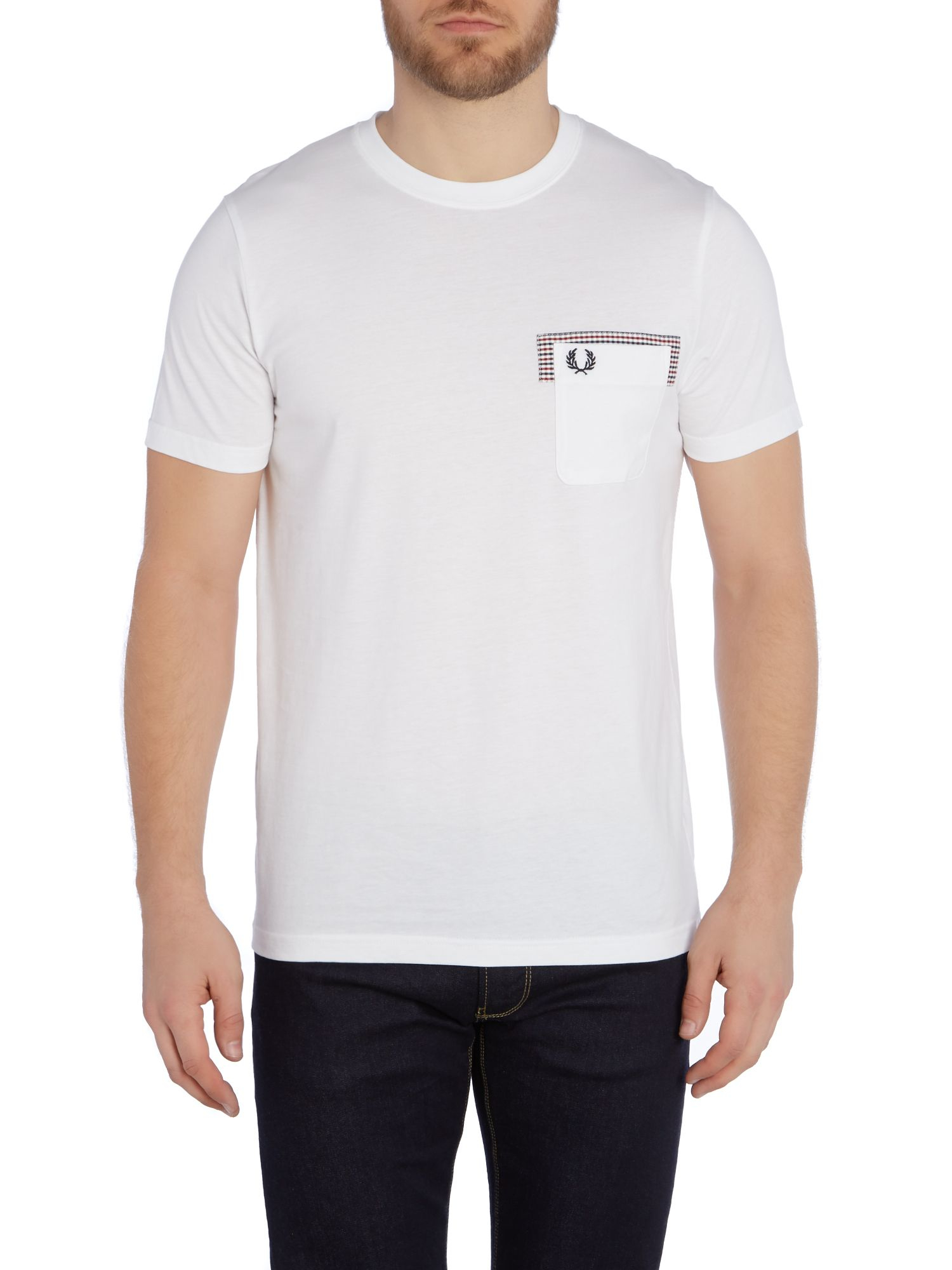 fred perry gingham trim pocket crew neck t shirt in white for men. Black Bedroom Furniture Sets. Home Design Ideas