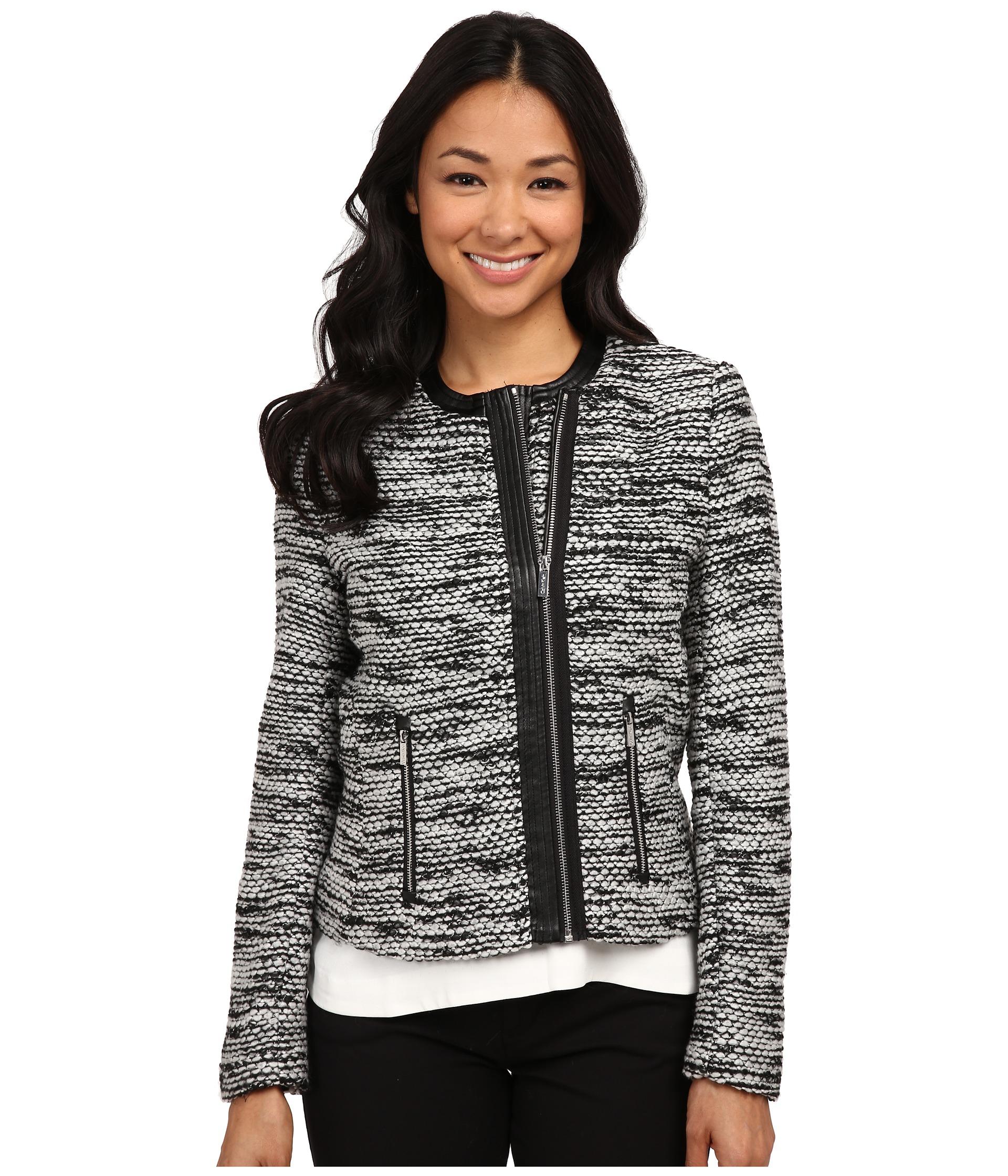 lyst calvin klein sweater jacket in white. Black Bedroom Furniture Sets. Home Design Ideas