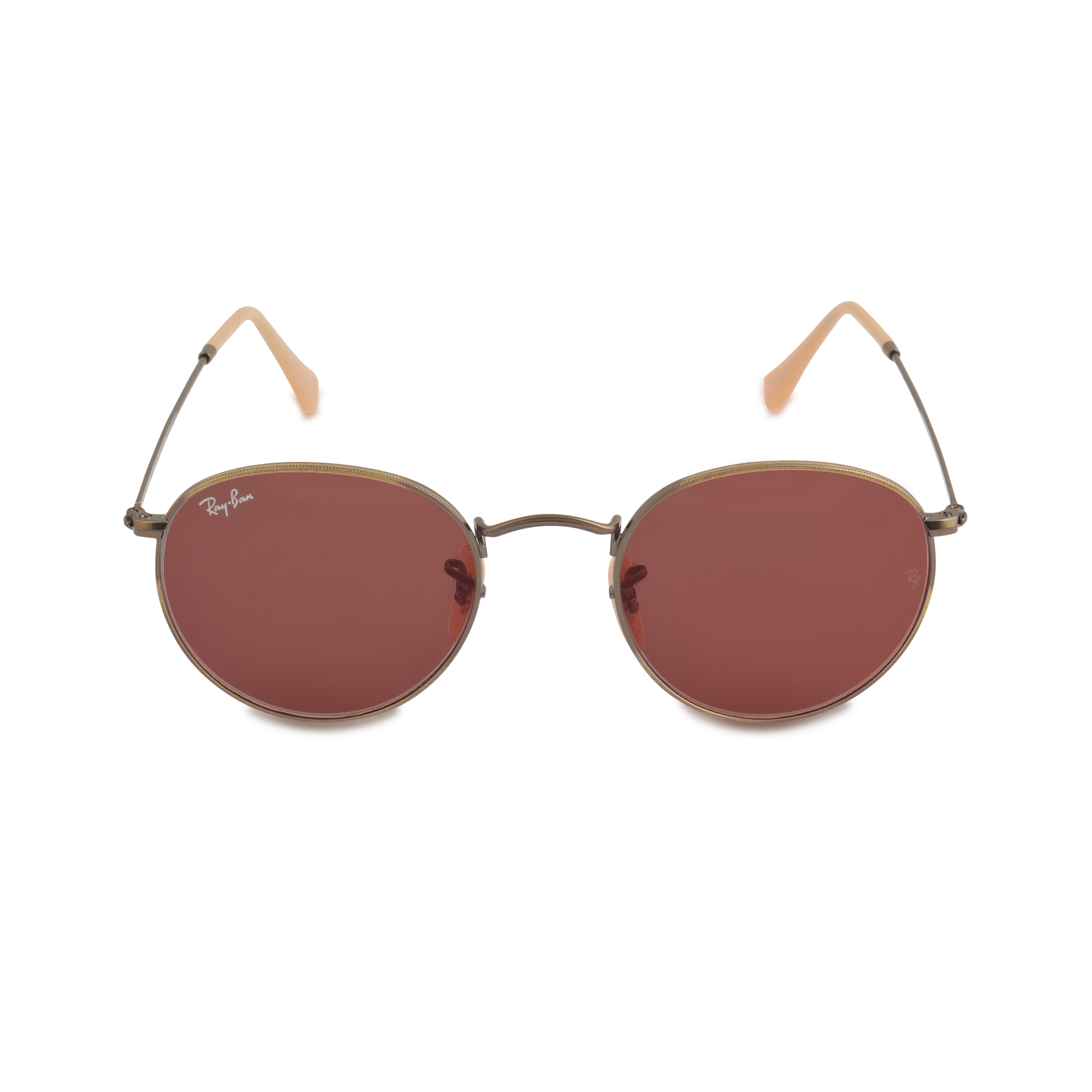 ray ban icons 0rb3447 round metal demiglos brushed bronze sunglasses in brown lyst. Black Bedroom Furniture Sets. Home Design Ideas