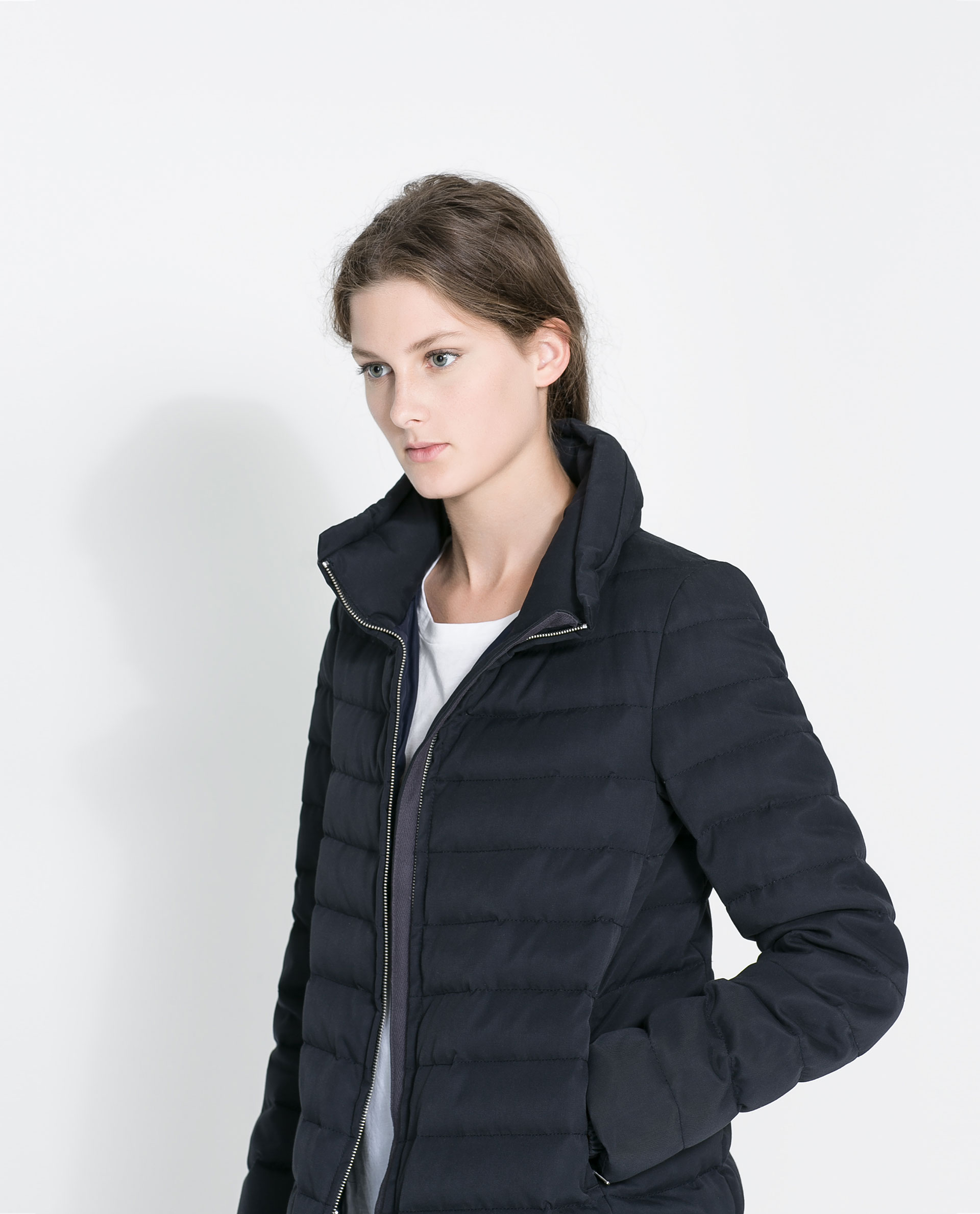 Zara Midlength Puffer Coat With Hood In Blue Navy Blue