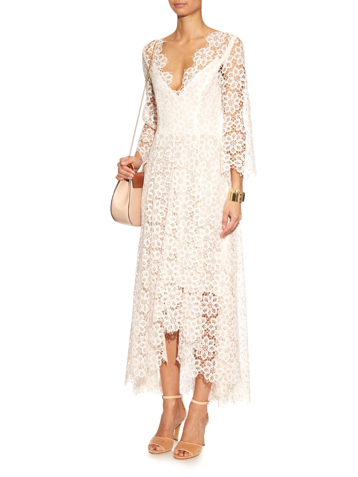 Lyst Zimmermann Empire Guipure Lace Dress In Pink