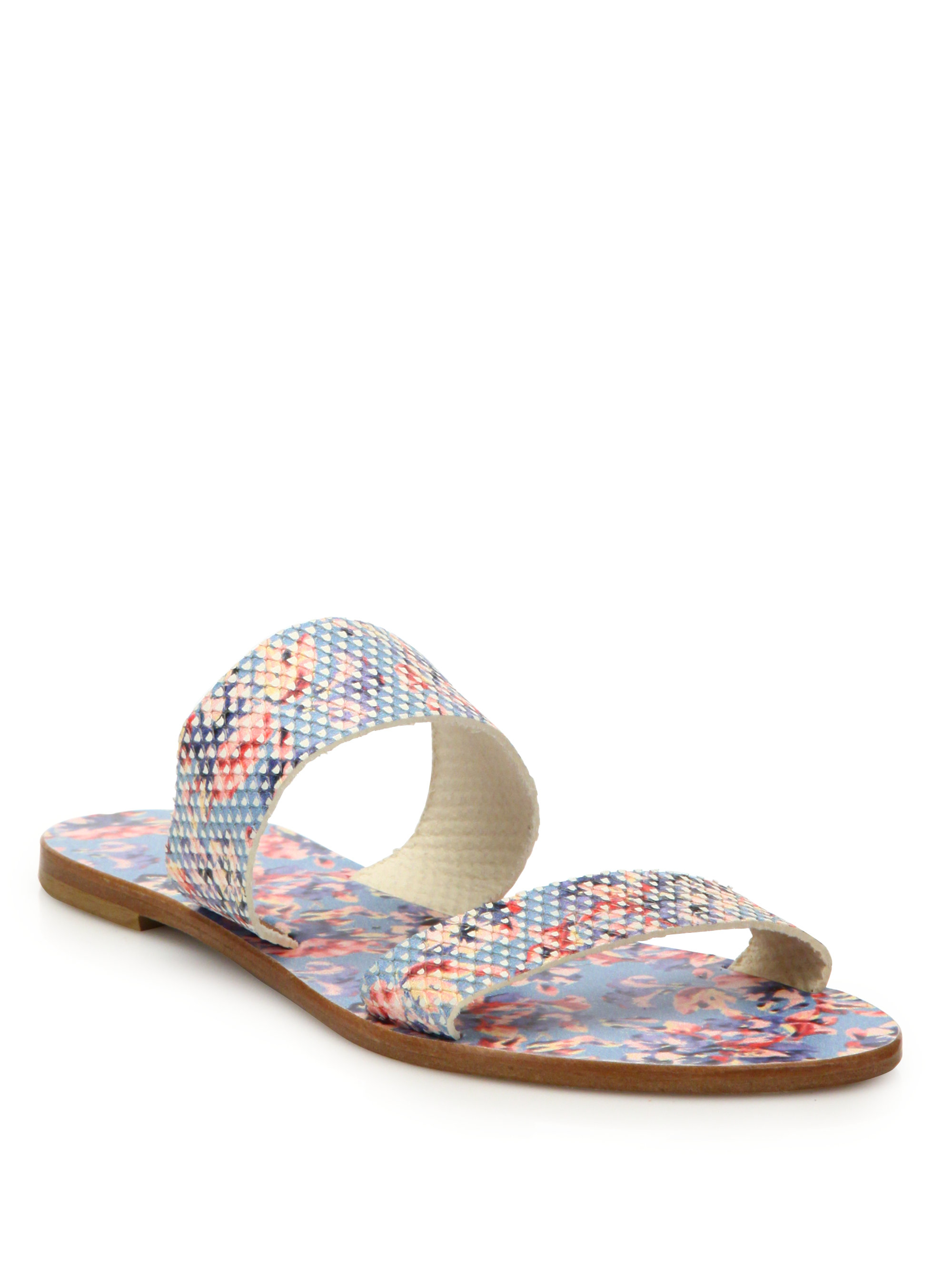 704d53481244 Lyst - Joie Sable Floral-print Leather Slides in Blue