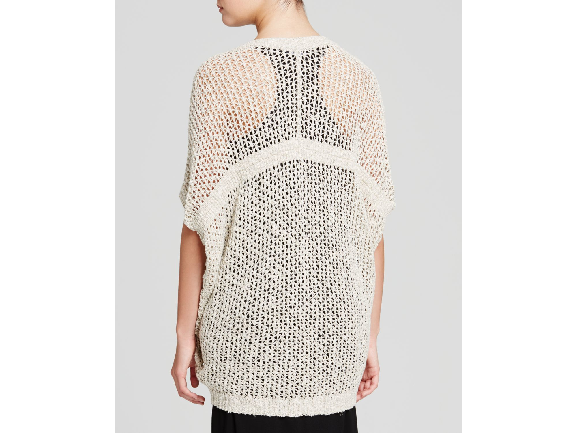 Eileen fisher Open Knit Kimono Cardigan in Natural | Lyst