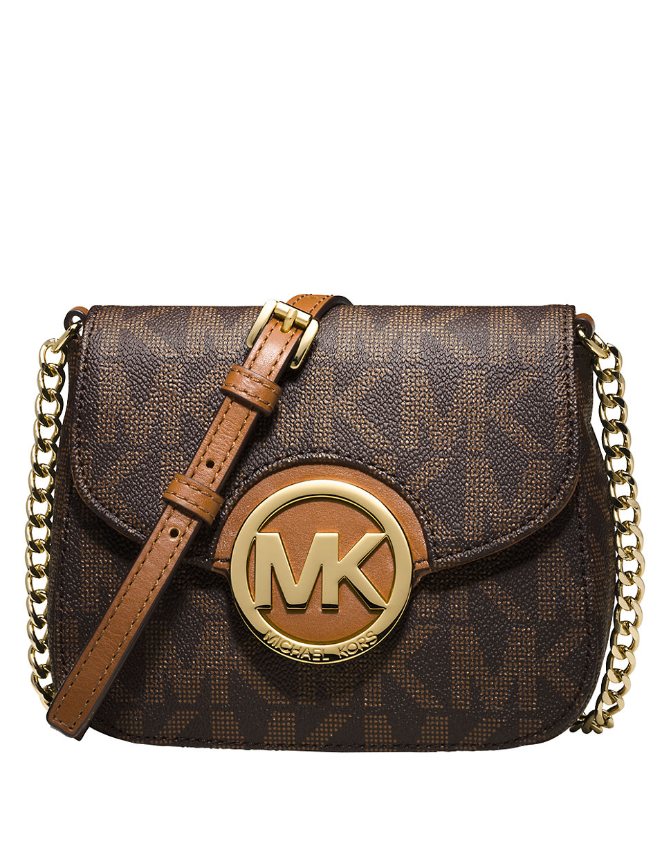michael michael kors fulton logo small crossbody in brown lyst. Black Bedroom Furniture Sets. Home Design Ideas