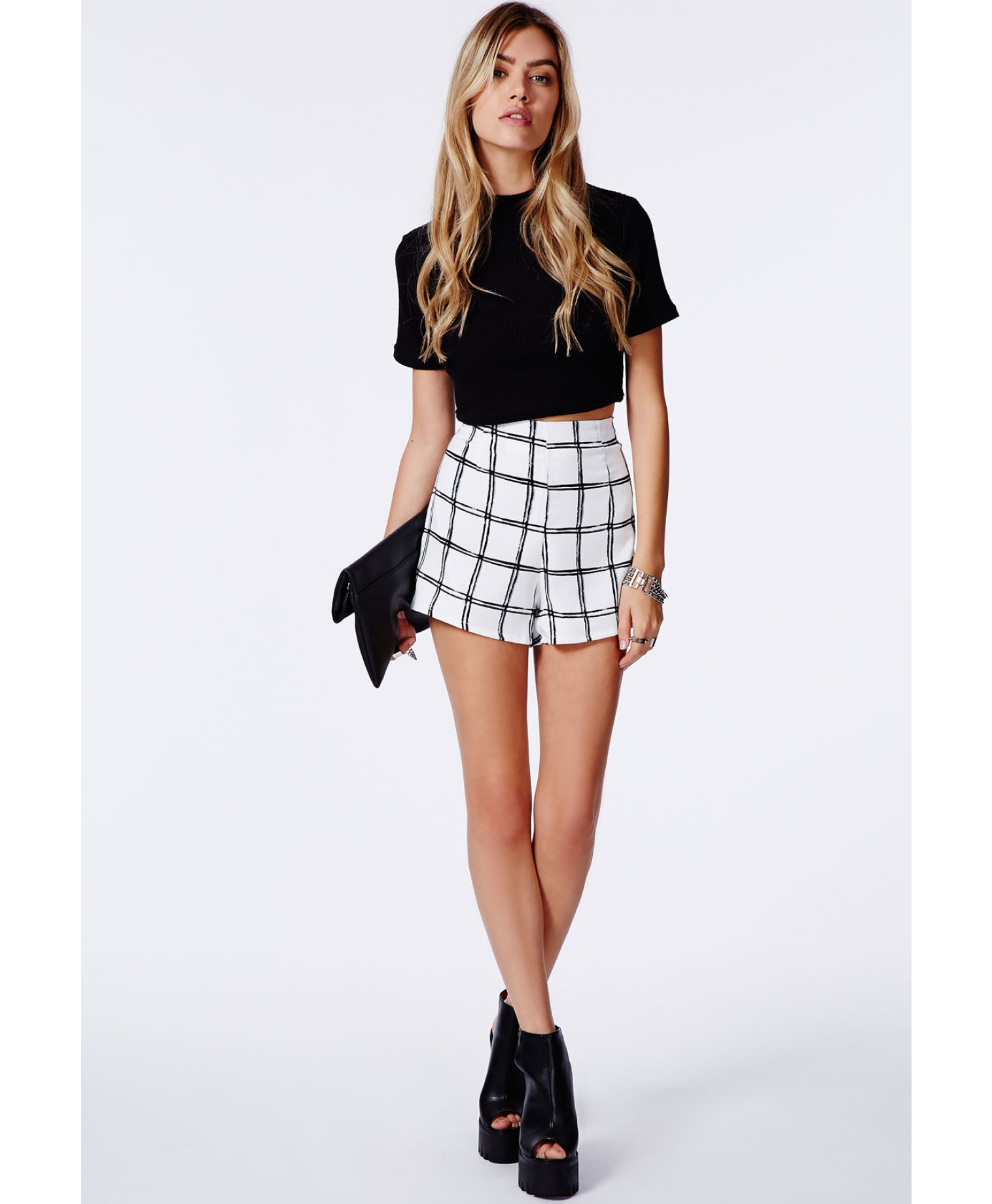 Missguided Fisina Check Print Shorts White in Black | Lyst