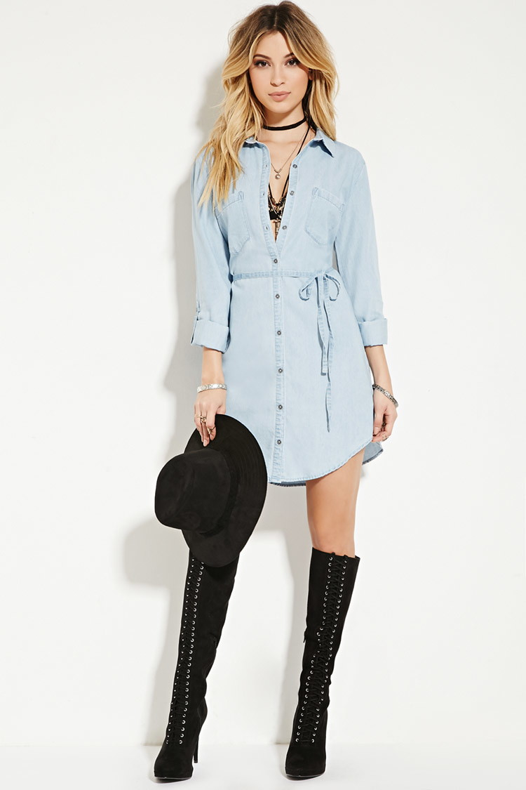 Forever 21 Belted Chambray Shirt Dress In Blue Light
